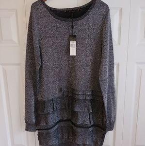 NWT BCBGMaxAzria Silver Dress w/Lurex Sz L